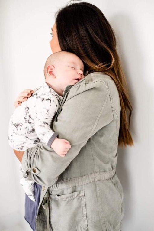 Baby Footie Pajamas in Grey Marble