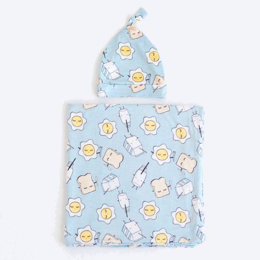 Blue Breakfast Buddies Pattern Baby Swaddle & Hat Set