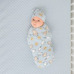 Little Sleepies Blue Breakfast Buddies Swaddle & Hat Set