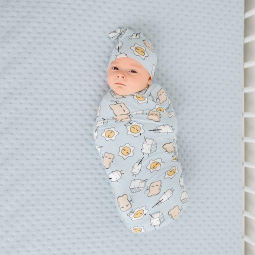 Little Sleepies Blue Breakfast Buddies Swaddle & Hat Set
