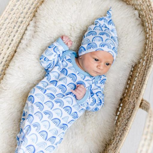 Blue Rainbows Sleep Gown for Newborns Little Sleepies