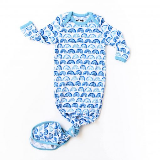 Little Sleepies Blue Rainbows Infant Gown Bamboo Viscose