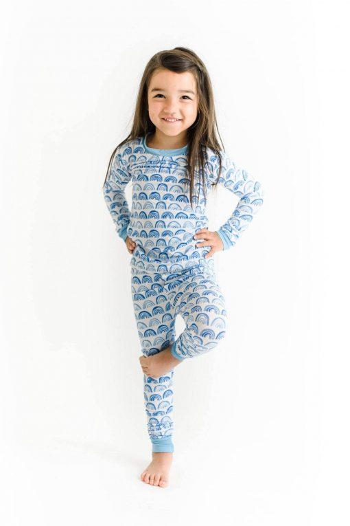 Little Sleepies Blue Rainbow Two-Piece Bamboo Pajama Set