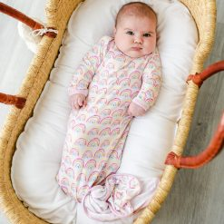Pink Pastel Rainbows Bamboo Sleep Gown for Newborns Little Sleepies