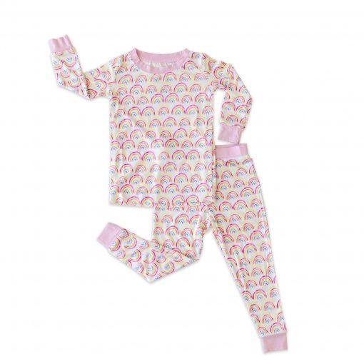 Pastel Rainbow Two-Piece Bamboo Pajama Set