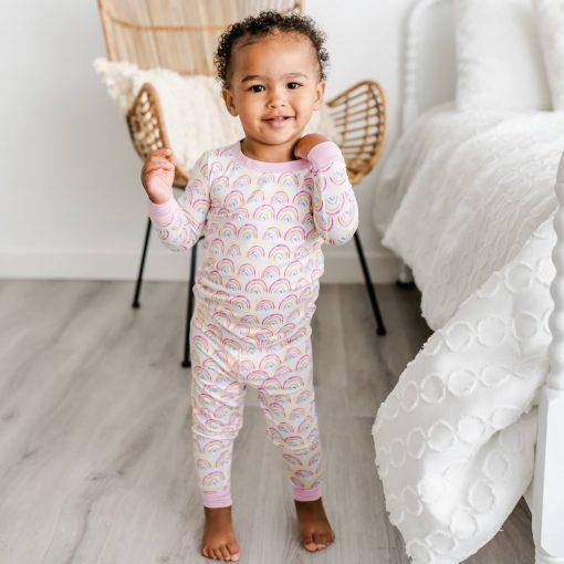 Little Sleepies Pastel Rainbow Two-Piece Bamboo Pajama Set