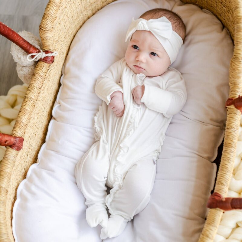 Little Sleepies Pearl Ruffle Bamboo Zippy Romper