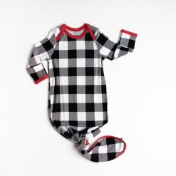 Buffalo Plaid Bamboo Fabric Infant Knotted and Gown