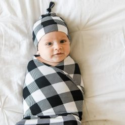 Little Sleepies Swaddle and Knotted Hat Set Buffalo Plaid