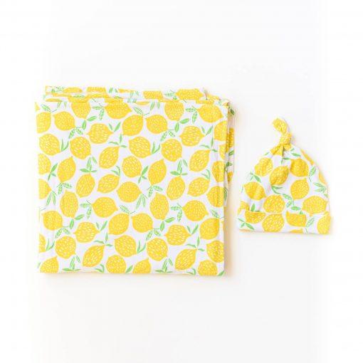 Lemon Bamboo Swaddle with Matching Hat Little Sleepies