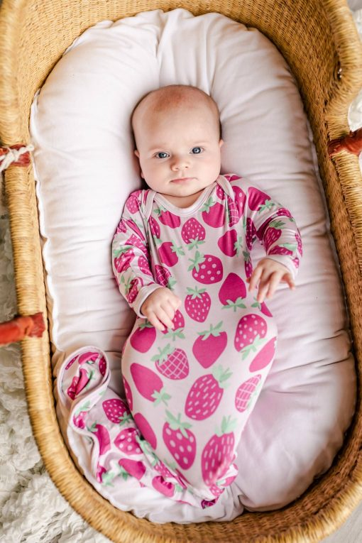Bamboo Newborn Gown with Strawberry Print from Little Sleepies