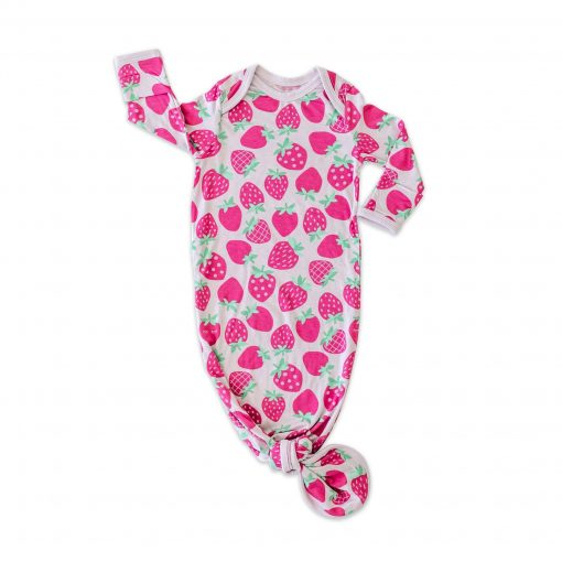 Little Sleepies Strawberries Infant Knotted Gown