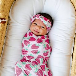 Little Sleepies Strawberries Swaddle Gift Set with Matching Headband