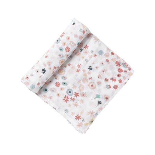 Pehr Novelty Print Swaddle in Meadow with pink and blue flowers