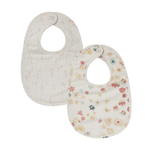 Pehr Bib Set of 2 Meadow & Showers Pink with bright pink flowers and muted pink dots