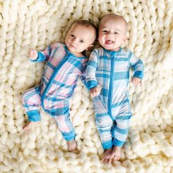 Blueberry Plaid and Rosy Plaid Little Sleepies Bamboo Sleeper Zippy