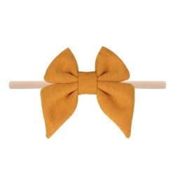 Emerson and Friends Mustard Jersey Bow Baby Headband