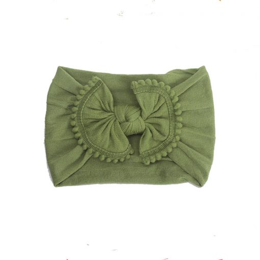 Emerson and Friends Olive Green Pom Bow Baby Headband