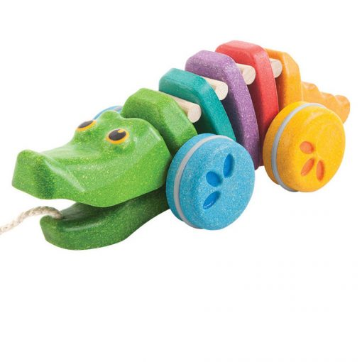PlanToys Wooden Rainbow Alligator Pull-Along Toy