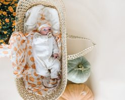 Blanket and Swaddle in Pumpkin Patch Pattern by Copper Pearl