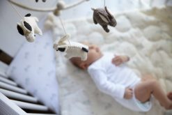 Pehr Classic Crib Mobile with Wool Bunnies