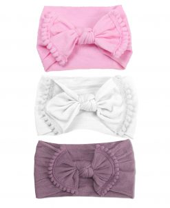 Emerson and Friends Pink Pom Bow Headband Set