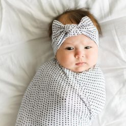 Little Sleepies Polka Dot Bamboo Swaddle and Hat Set