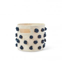 Pehr Pom Pom Pint Storage bin with Navy Poms