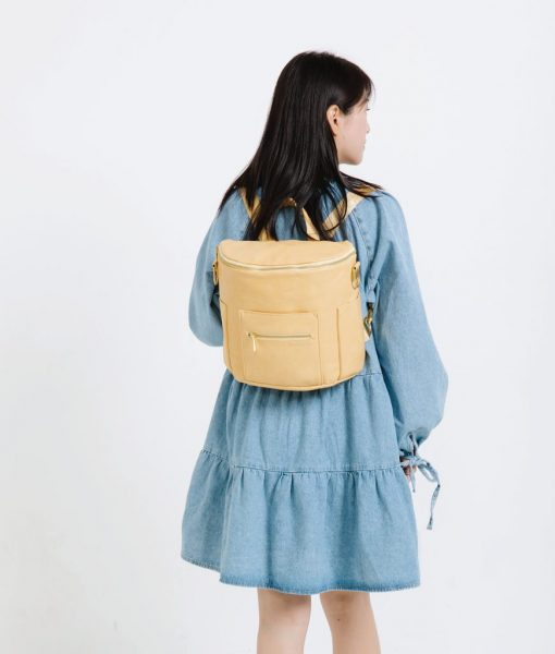 Yellow Leather Diaper Bag Fawn