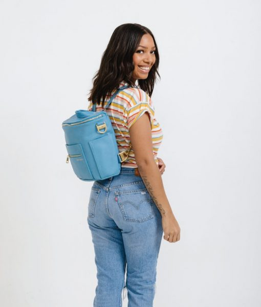 Blue Leather Diaper Bag
