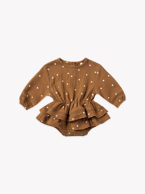 Quincy Mae Rosie romper in Walnut by Quincy Mae
