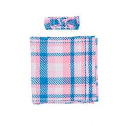 Little Sleepies Bamboo Rosy Plaid Set with Swaddle and Hat