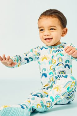 Blue Rainbow Footie by Clover Baby and Kids
