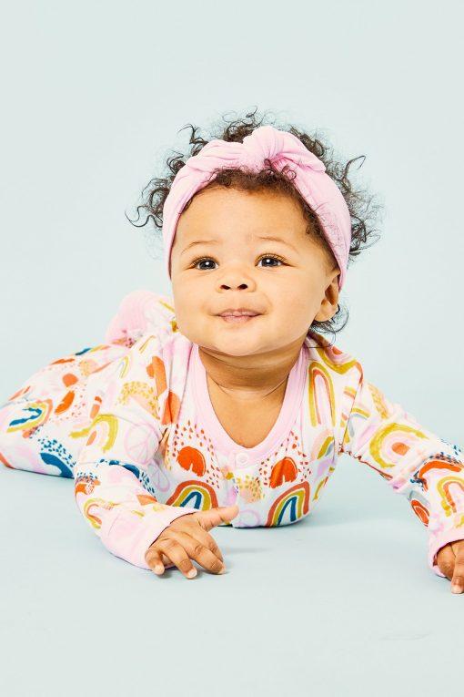 Clover Baby and Kids Pink Rainbow Footie