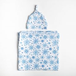Little Sleepies Bamboo Snowflake Set with Swaddle and Hat