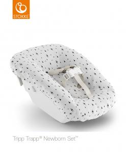 Stokke Tripp Trapp Newborn Set Organic Reversible Textile & Bib Set in White and Aqua Mountains