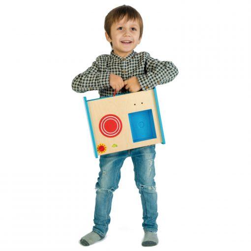 Boy Holding Tender Leaf Toys Foldable Kitchen