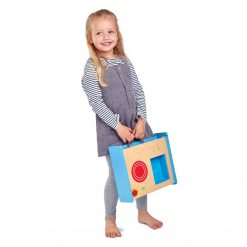 Girl Holding Portable Pop Up Kitchen