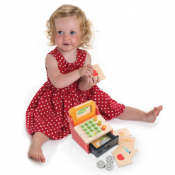 Girl Playing Tender Leaf Toys Till Money Wood Coins