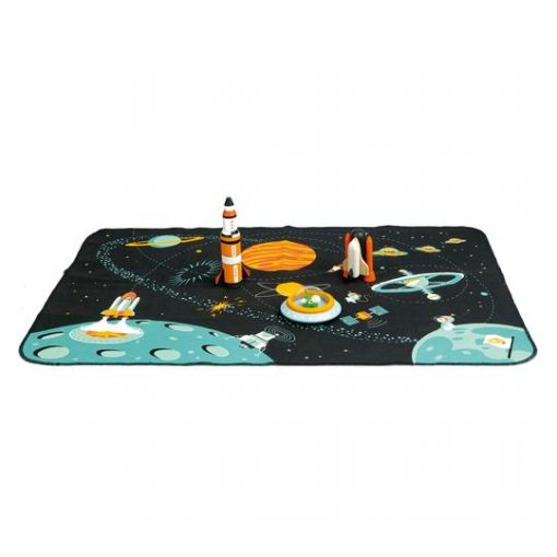 Space Themed Playset for Babies and Toddlers with Wooden Toys and Space Theme Playmat