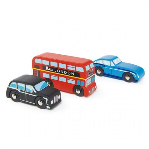 Tender Leaf Toys London Car Set featuring a double decker London bus Jaguar and London taxi