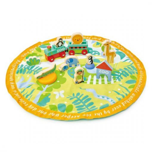 Tender Leaf Toys Safari Park Story bag with Playmat and Wooden Safari Toys