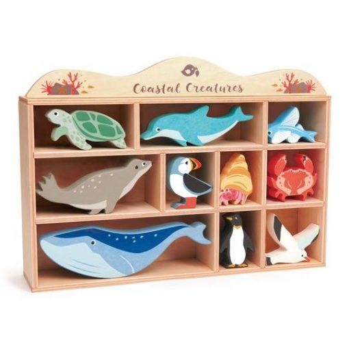 Coastal Creatures Wooden Figure Set from Tender Leaf Toys Packaging