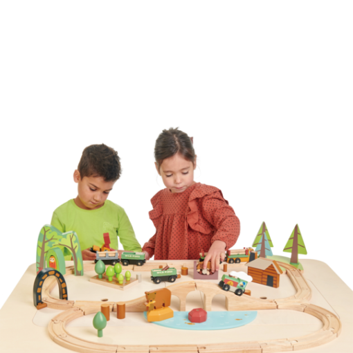 Table Kids Playing With Trains