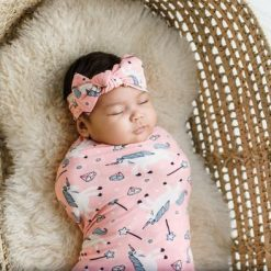 Little Sleepies Unicorn Bamboo Swaddle and Head Band Set