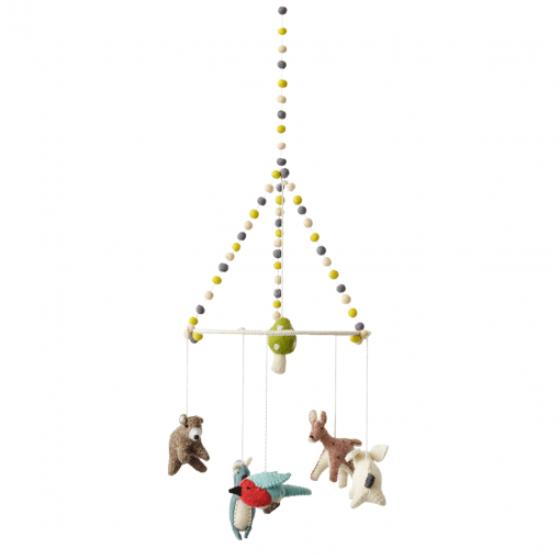 Pehr Classic Mobile with Woodland Creatures including a brown bear
