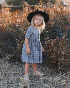 Washed Indigo Children's Check Dress by Rylee & Cru