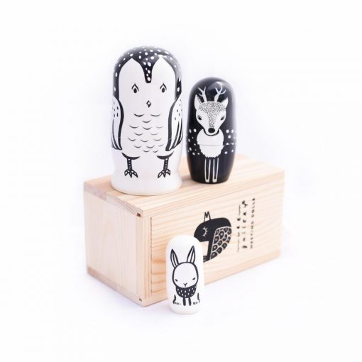 Wooden Own Deer and Bunny Nesting Dolls