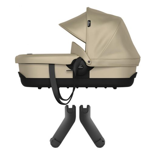 Mima Zigi Carrycot in Champagne with Chassis Adapters