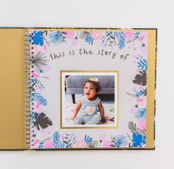 Floral Baby Book with Black Cover and Floral Design